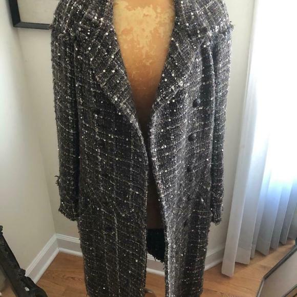 Authentic Vintage Chanel Tweed Wool CC Coat 38
